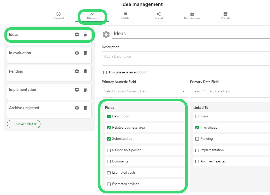 idea management - manage used fields in phases tab